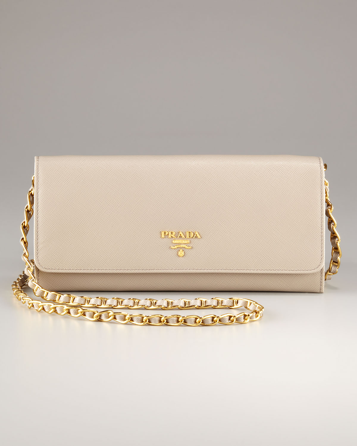 79a0c9a866d3 ... sale lyst prada chain wallet in natural 049c0 aaa82