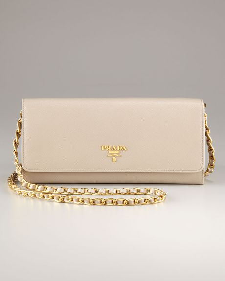 4c0476fa11d96b Prada Wallet On Chain Beige. Prada Saffiano-Leather Wallet-On-Chain Bag in  Natural | Lyst