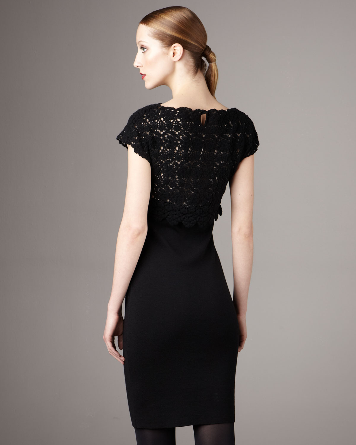 Lyst - Red Valentino Lace-top Dress in Black