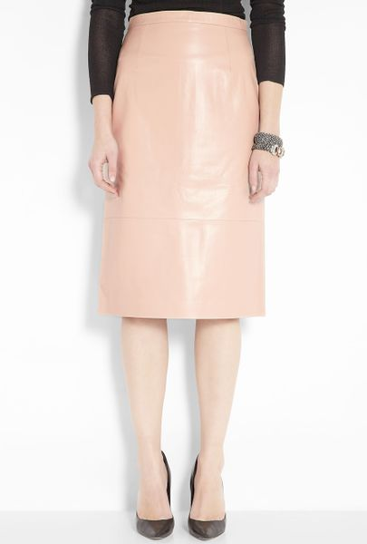 tibi blush leather pencil skirt in pink blush lyst