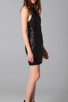 Alexander Wang Fitted Racer Back Leather Dress - Lyst