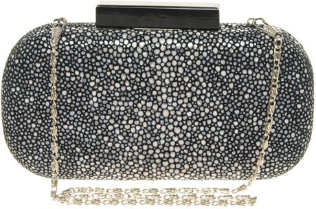 Asos Collection Asos Premium Leather Faux Stingray Clutch in Gray (grey) - Lyst