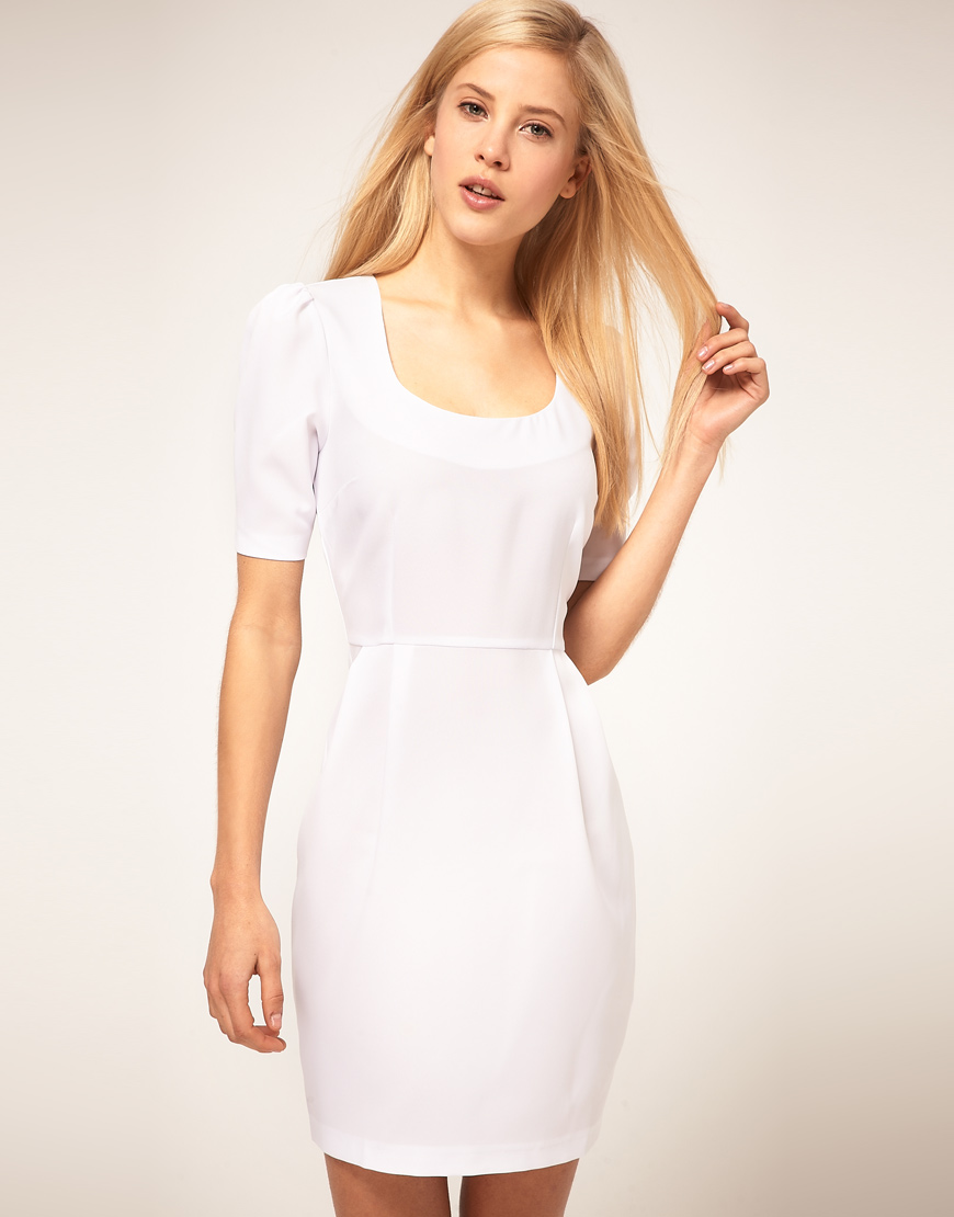 1c60df175b2a ASOS Collection Tulip Dress in Bi-stretch in White - Lyst