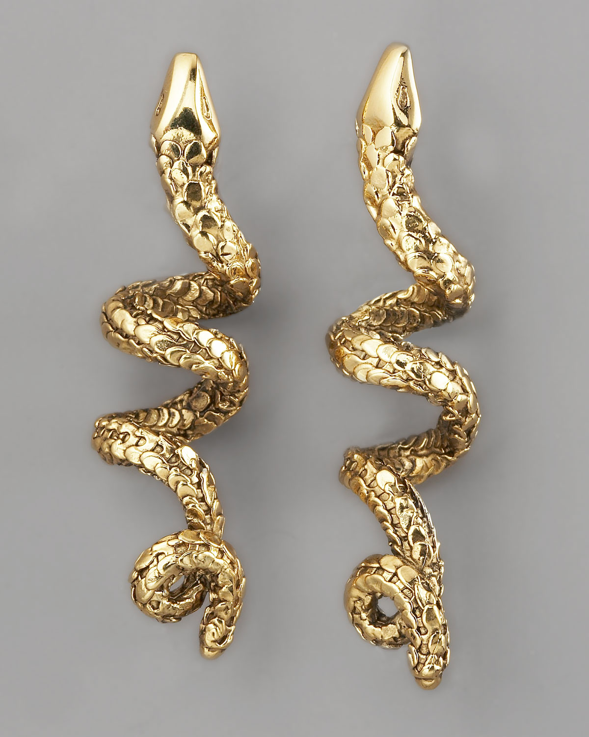 Lyst Aurelie Bidermann Coiled Snake Earrings in Metallic
