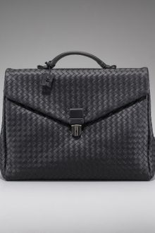 Bottega Veneta Two-gusset Woven Briefcase, Black - Lyst