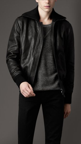 Mcq By Alexander Mcqueen Leather Bomber Jacket in Black for Men   Lyst