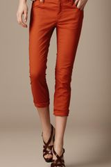 Burberry Brit Stretch Cotton Capri Trousers in Orange (burnt orange) - Lyst