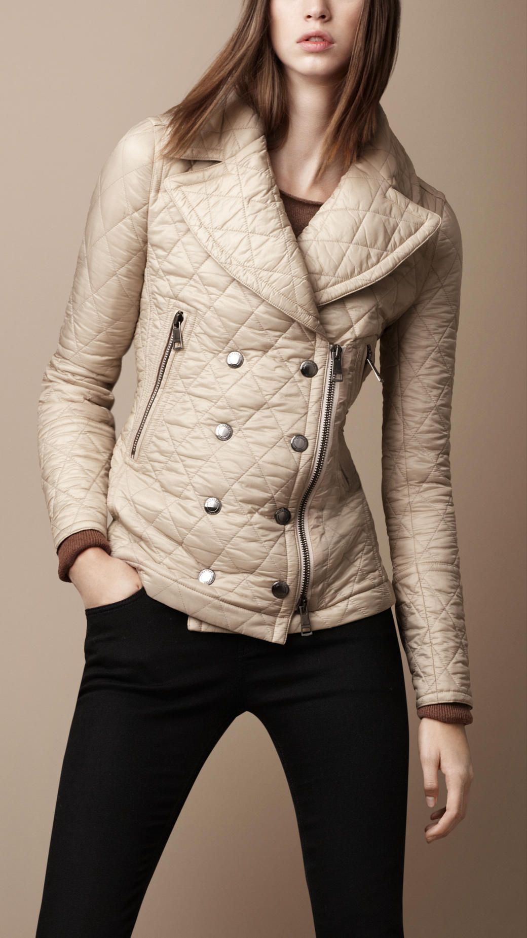 Burberry Brit Crossover Closure Quilted Jacket In Beige