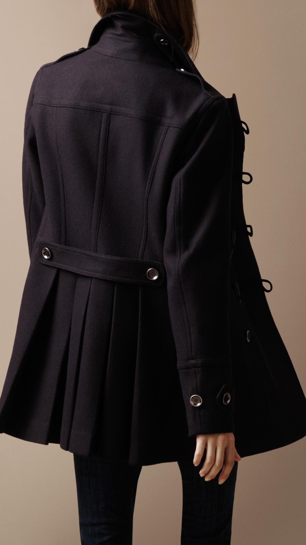 Burberry brit Regimental Wool Duffle Coat in Blue   Lyst