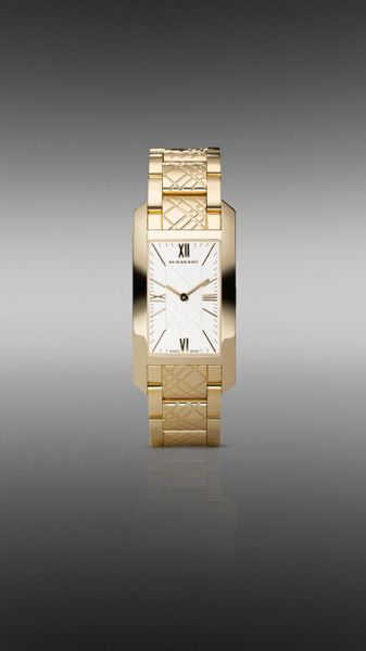 Burberry Large Check Engraved Watch in Gold (dark steel)