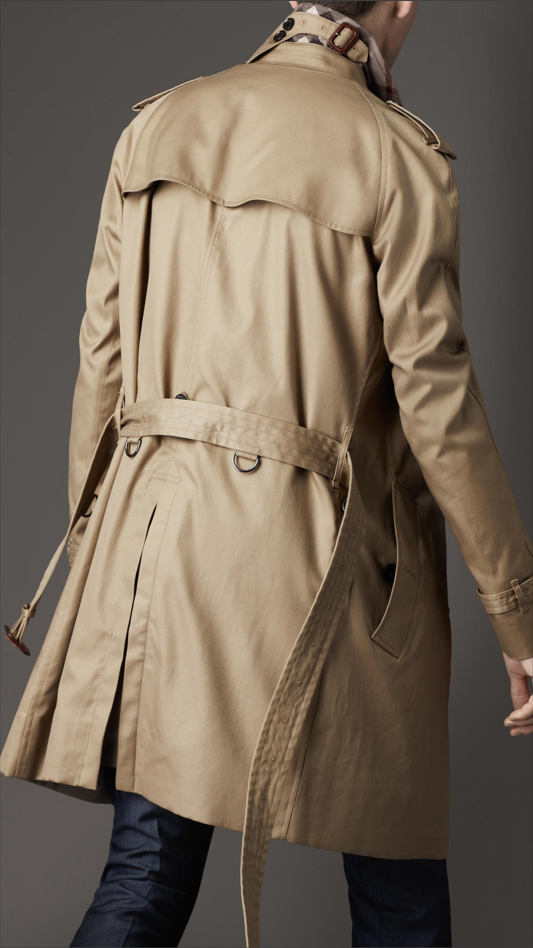 Burberry Mid Length Technical Cotton Trench Coat In Beige