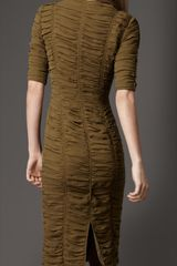 Burberry Zip Front Ruched Dress in Khaki (khaki green) - Lyst