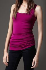Burberry Basic Jersey Vest in Purple (magenta pink) - Lyst