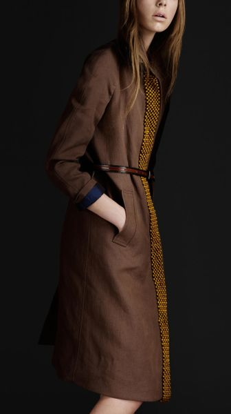 Burberry Prorsum Beaded Linen Trench Coat in Brown (cocoa) - Lyst