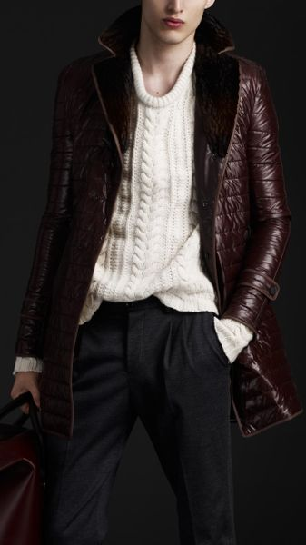 Burberry Prorsum Quilted Nylon Trench Coat with Fur Collar in Brown