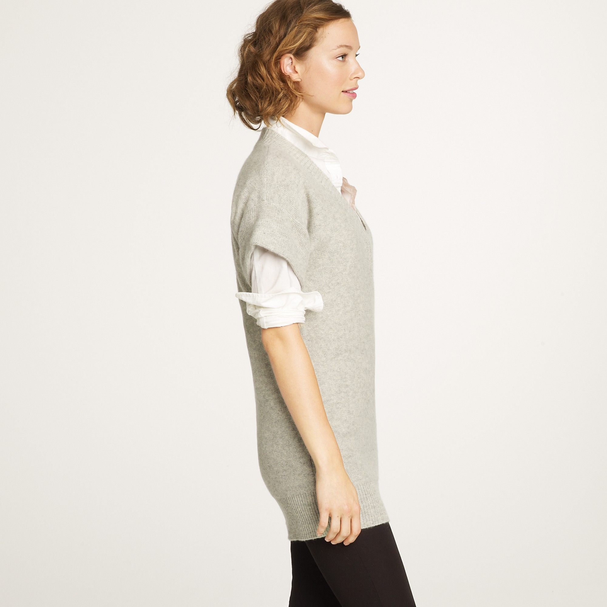 J.crew Cashmere Short-sleeve V-neck Sweater in Gray | Lyst