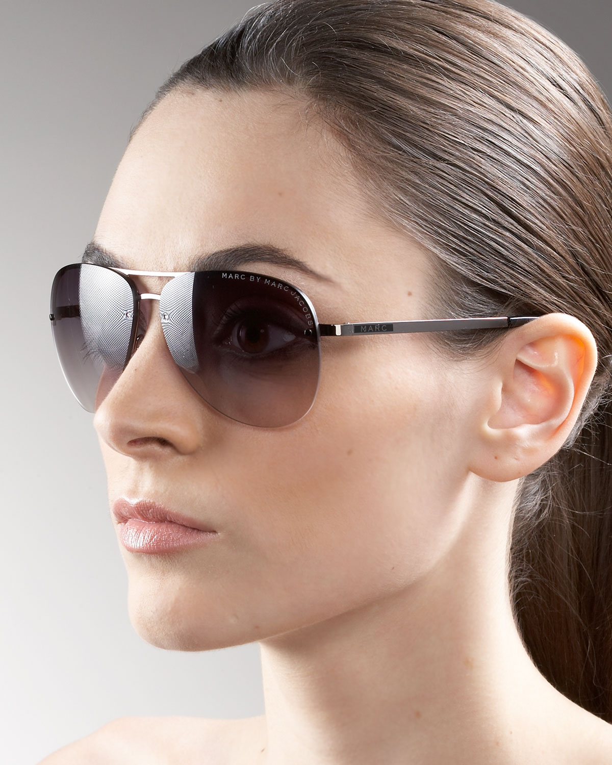 96a31f891dbe3 Marc By Marc Jacobs Rimless Aviator Sunglasses in Brown - Lyst