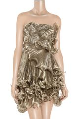 Marchesa Embellished Pleated Silkorganza Dress in Gold (bronze) - Lyst