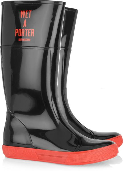Moschino Cheap & Chic Wet-A-Porter Patent-Rubber Boots in Black