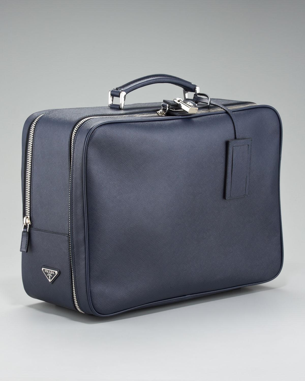 e980d1989fef61 greece lyst prada saffiano travel bag blue in blue for men 6855f fd3aa