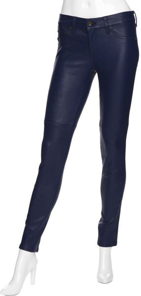 Rag & Bone Preorder Midrise Skinny Leather Jeans: Navy in Blue (navy) - Lyst