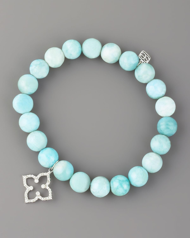 Sydney Evan 14k Agate Beaded Stretch Bracelet w/ Turquoise Horn EZoicGu
