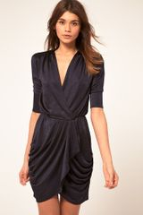ASOS Collection Asos Wrap Dress in Metallic