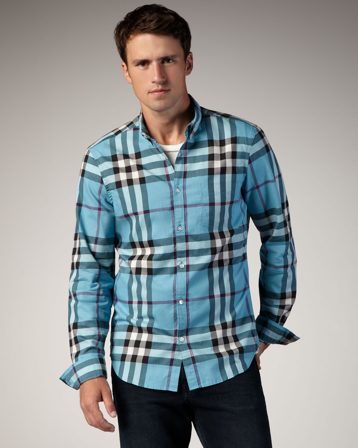 Burberry Brit Check Button Down Sport Shirt Kingfisher In
