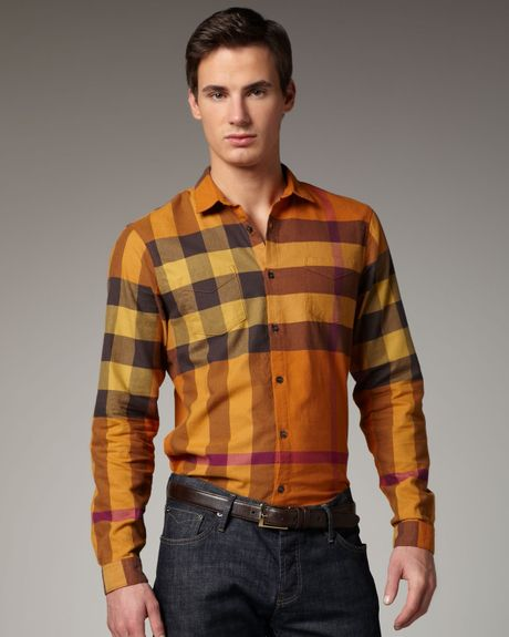 Burberry Brit Check Sport Shirt In Orange For Men Pumpkin