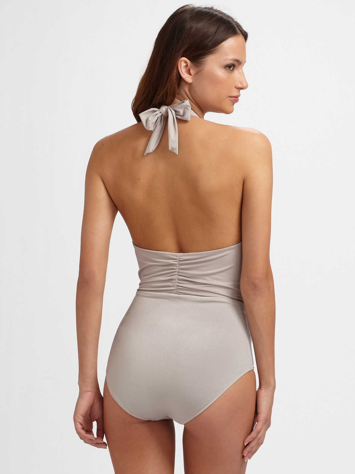 lyst - clube bossa deep plunge one piece swimsuit in gray