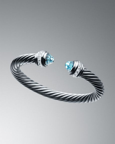 david yurman 7mm blue topaz silver bracelet in blue