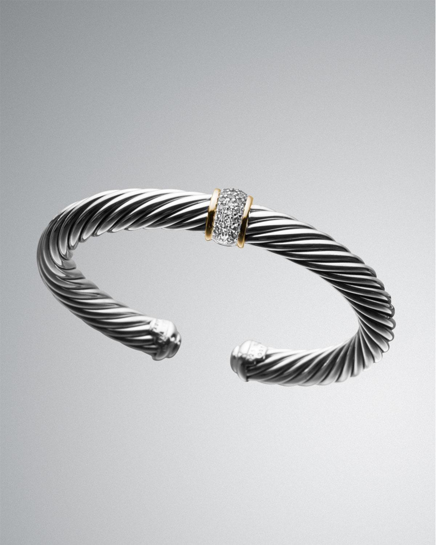 David Yurman 7mm Pave Diamond Cable Classics Bracelet In