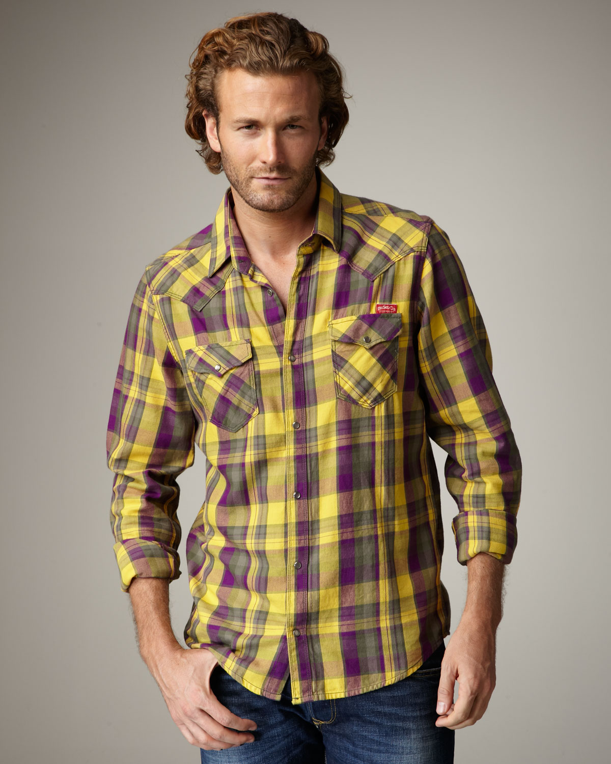 Diesel Check Flannel Western Shirt in Yellow for Men | Lyst