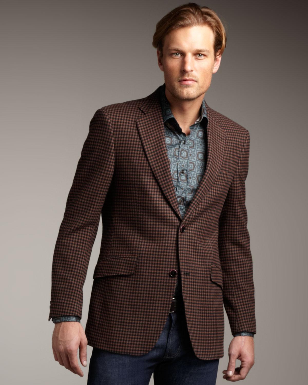 Etro Houndstooth Sport Coat in Brown for Men | Lyst