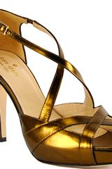 Kate Spade Get - Bronze Metallic Leather Platform Strappy Sandal - Lyst