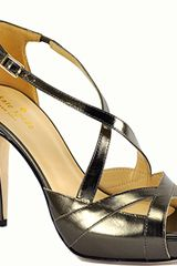 Kate Spade Get - Pewter Metallic Leather Platform Strappy Sandal - Lyst