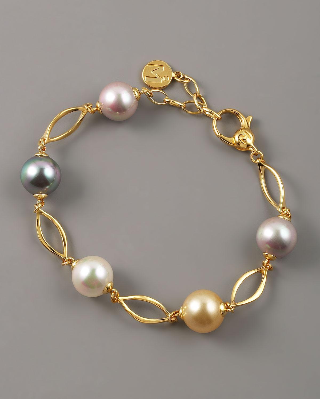 Majorica Multicolor Pearl Link Bracelet In Metallic Lyst