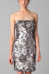 Marchesa Sequined Strapless Dress in Silver (pewter) - Lyst