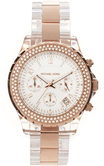 Michael Kors Rose Gold Detail Bracelet Watch - Lyst