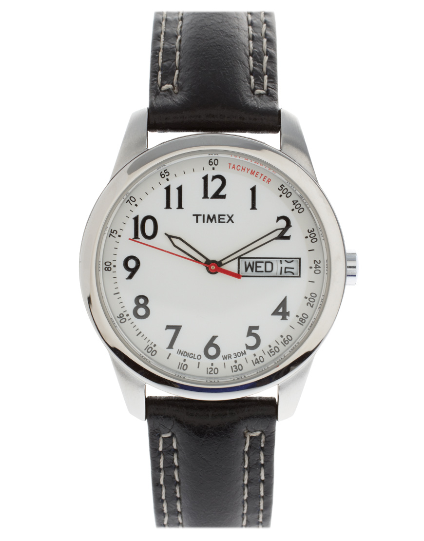 Timex Timex Originals Black Leather Strap Watch in Black ...