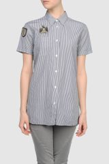 Balmain Short Sleeve Shirt in Black - Lyst