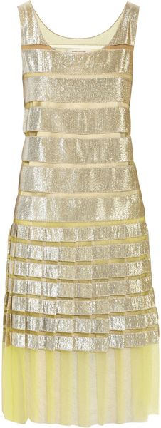Marc Jacobs Metallic Lamé and Mesh Striped Dress - Lyst