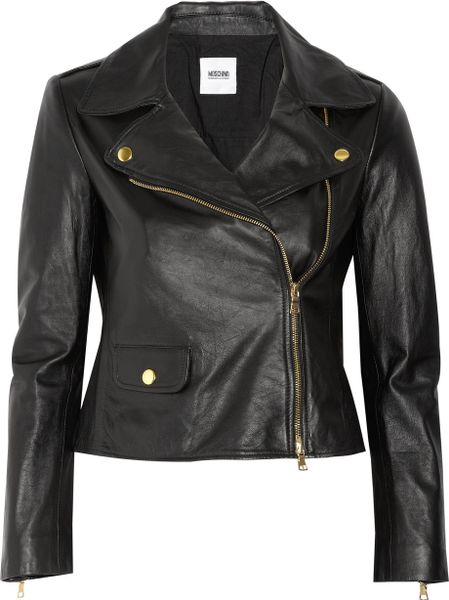 Moschino Cheap & Chic Leather Biker Jacket in Black - Lyst