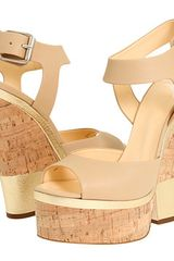 Giuseppe Zanotti Leather and Cork Platform Sandals in Gold - Lyst
