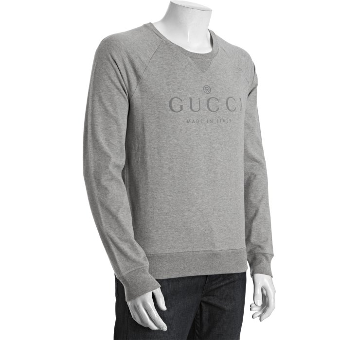 lyst gucci crewneck sweatshirt in gray for men. Black Bedroom Furniture Sets. Home Design Ideas