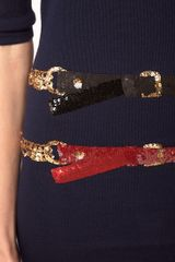 Markus Lupfer Sequin Belt Knit Dress in Blue (navy) - Lyst