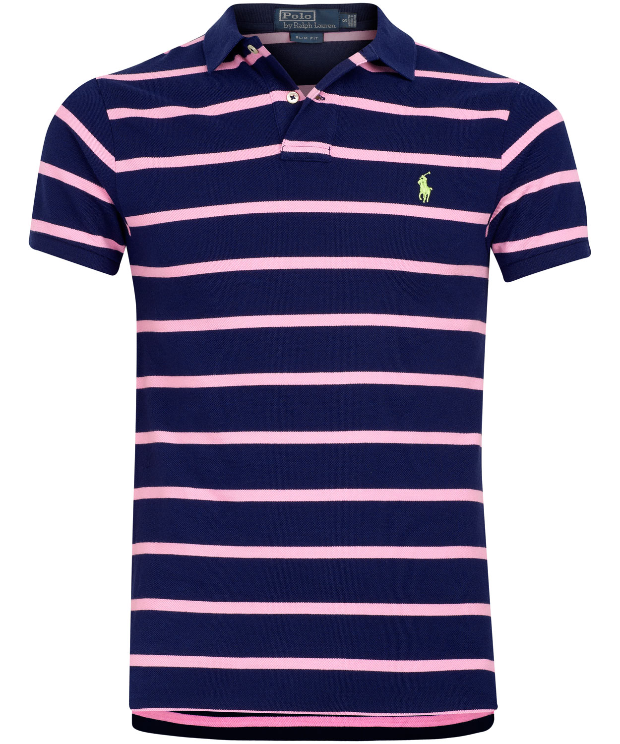 Polo ralph lauren navy and pink stripe polo shirt in blue for Pink and white ralph lauren shirt
