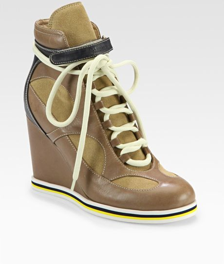 see by chlo leather suede wedge velcro hi top sneaker in khaki beige lyst. Black Bedroom Furniture Sets. Home Design Ideas