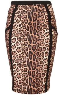Topshop Animal Panel Pencil Skirt - Lyst