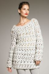 Donna Karan New York Hand-knit Boucle Sweater - Lyst